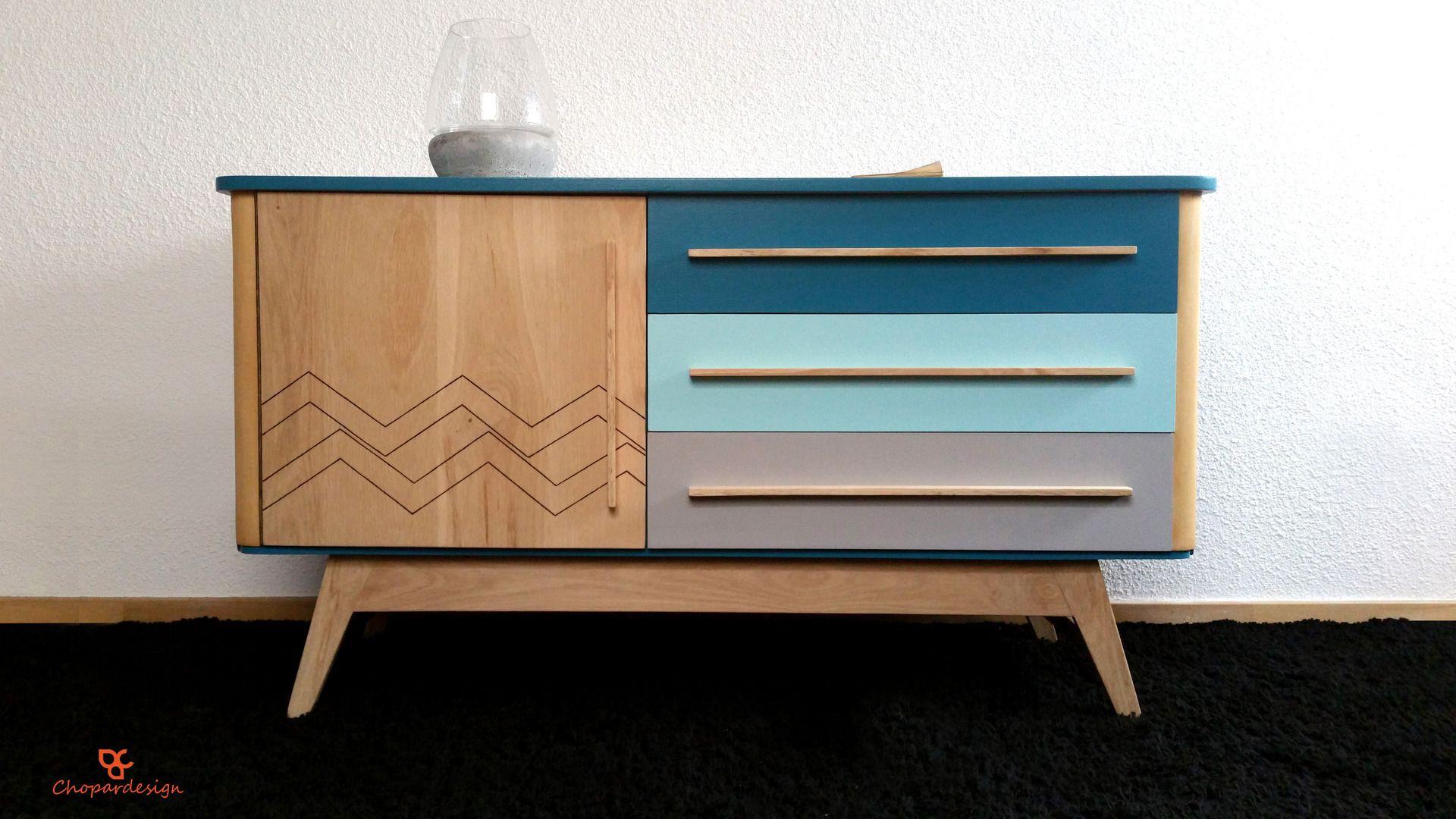 Enfilade Scandinave Relookee Bois Et Bleu Meubles Et Rangements Par Chopardesign Mobilier De Salon Meubles En Teck Meuble Vintage