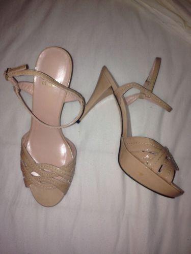 Stuart Weitzman Nudist Nude Patent Leather Sandals Womens Size 6.5 M New