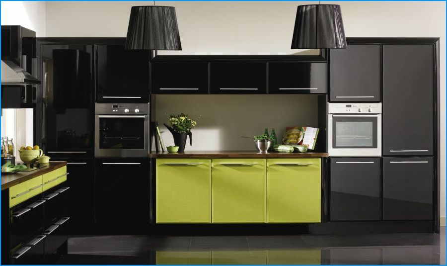 Lime Green Black Kitchen