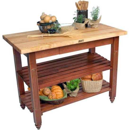 24 D Kindred Butcher Block Kitchen Island With 2 Storage Shelves By John Boos Shown Optional Utensil Drawer