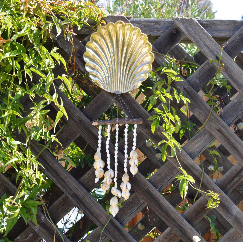 Brass metal nautical seashell wind chimemobilewall art seashell