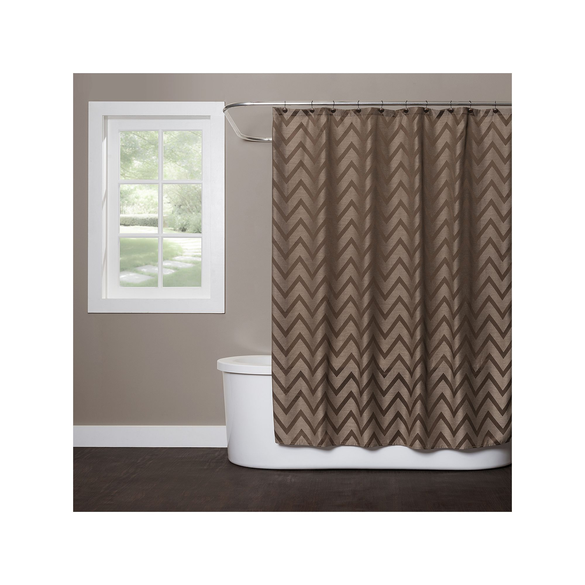 Saturday Knight Ltd Chevron Shower Curtain Brown Rideaux De Douche Motifs