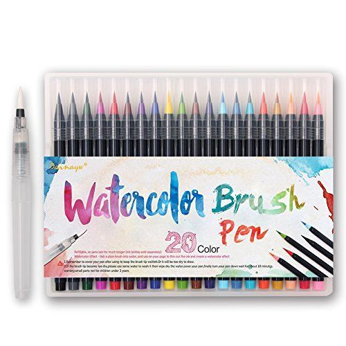 Dainayw Watercolor Brush Marker Pens 20 Colors Watercolor