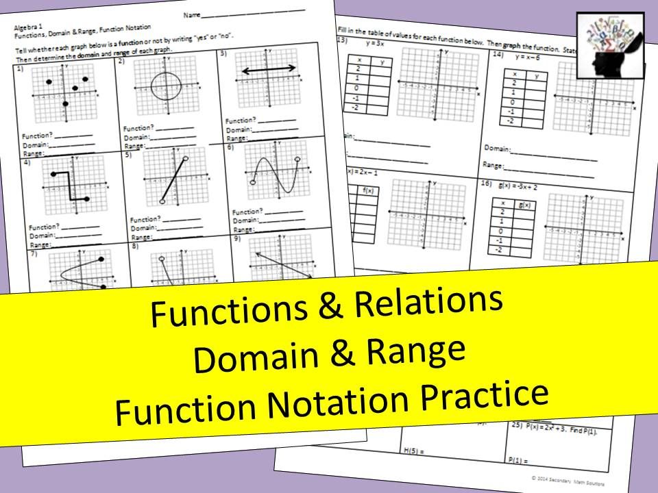 This Is A Double Sided Practice Page Over Functions Domain Range And Function Notation The Front Asks The Student To Functions Math Notations Math Lessons