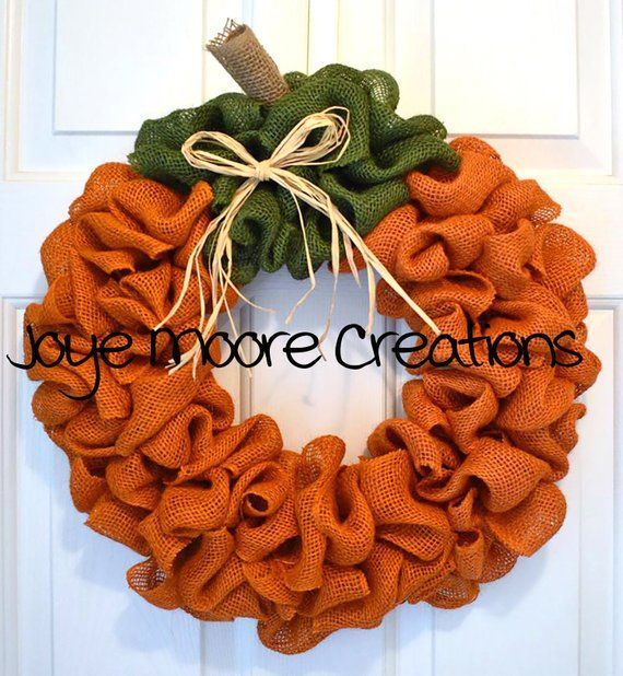 Photo of Items similar to Burlap Wreath, Pumpkin Wreath, Burlap Wreath for Front Door on Etsy