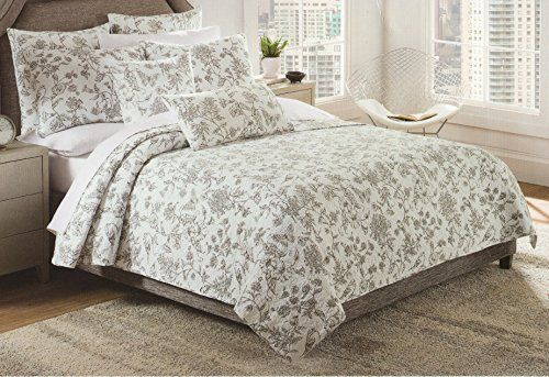 Isaac Mizrahi Black Toile Quilt Bedspread 3pc Full/Queen Quilt Set Coverlet  Cotton French Country