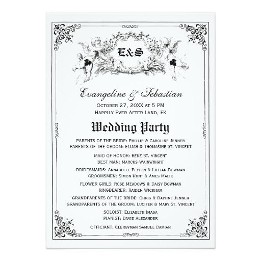 Fairy Tale Storybook Wedding Programs 5x7 Paper Invitation Card