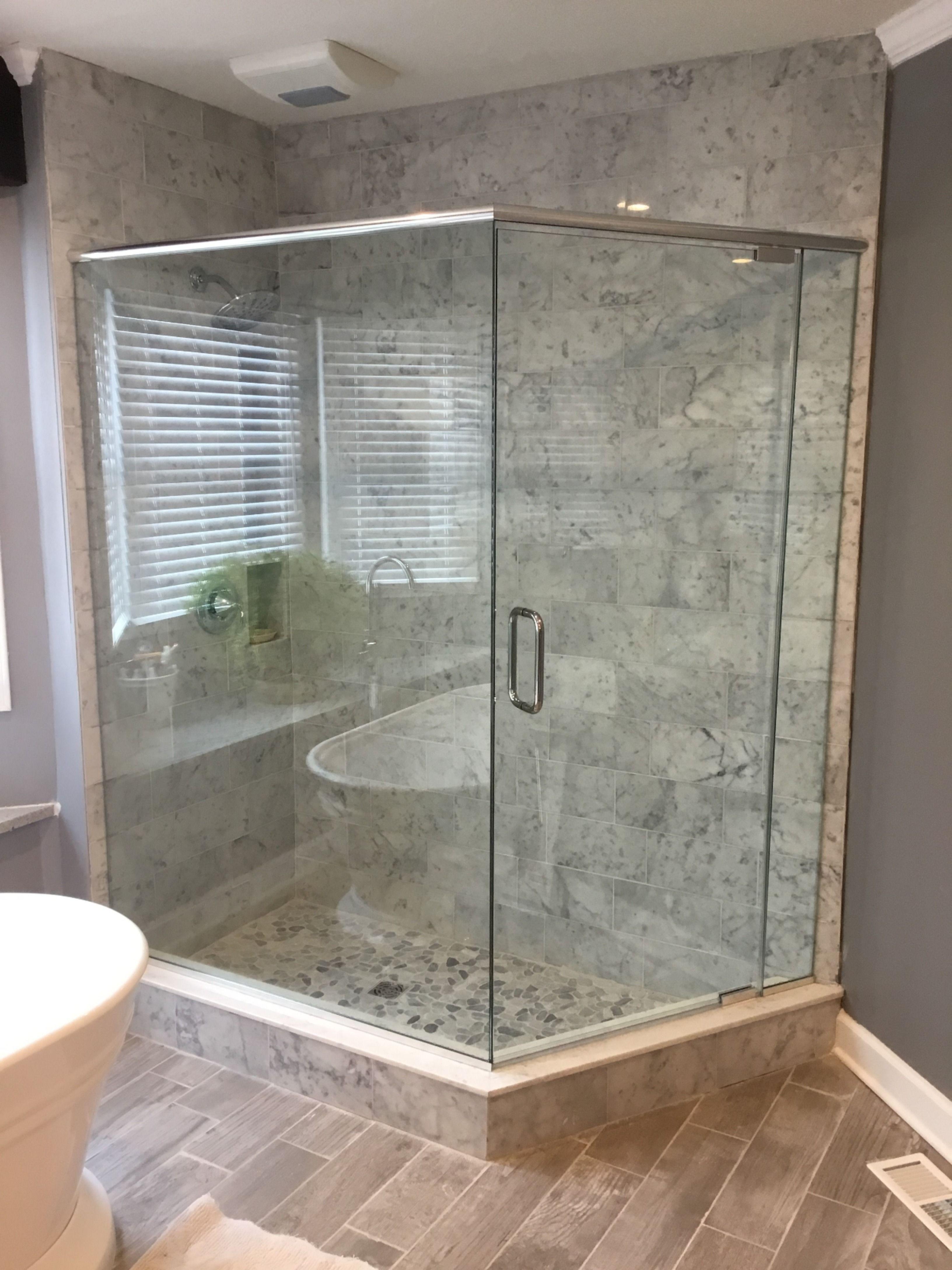 Pivot Hinge Shower Enclosures With Header In 2020 Custom Shower Doors Window Glass Repair Glass Shower Enclosures