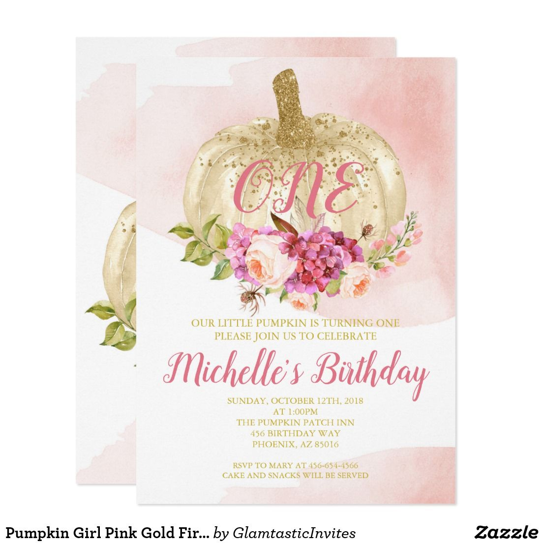 Pumpkin Girl Pink Gold First Birthday Watercolor Invitation | Zazzle.com #firstbirthdaygirl
