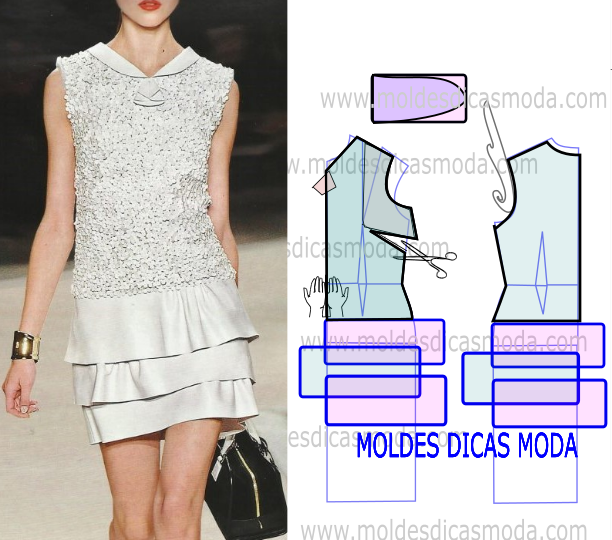 MOLDE VESTIDO COM BORDADO -255 | trazós | Dresses, Pattern fashion y ...
