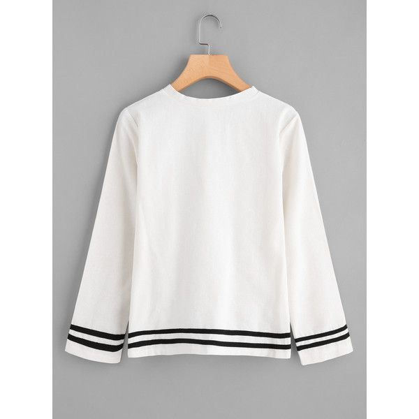 3bbf866fa04da9 SheIn(sheinside) Cut Out Hem Contrast Stripe Blouse (£11) ❤ liked on Polyvore  featuring tops