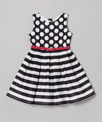 Black & White Polka Dot Stripe Dress - Toddler & Girls