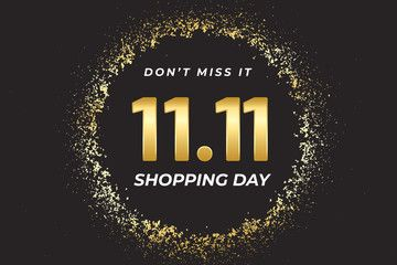 1111 Shopping festival sale banner with gold element on dark background  Social media banner template voucher discount season sale