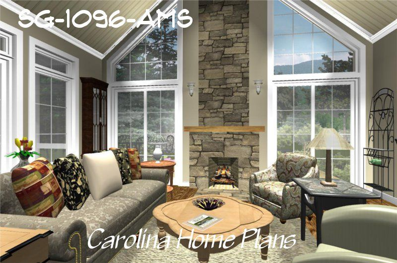 This Small House Plan Features A Bright And Spacious Great Room With Cathedral Ceiling And Fl Cathedral Ceiling Living Room House Flooring Family Room Addition
