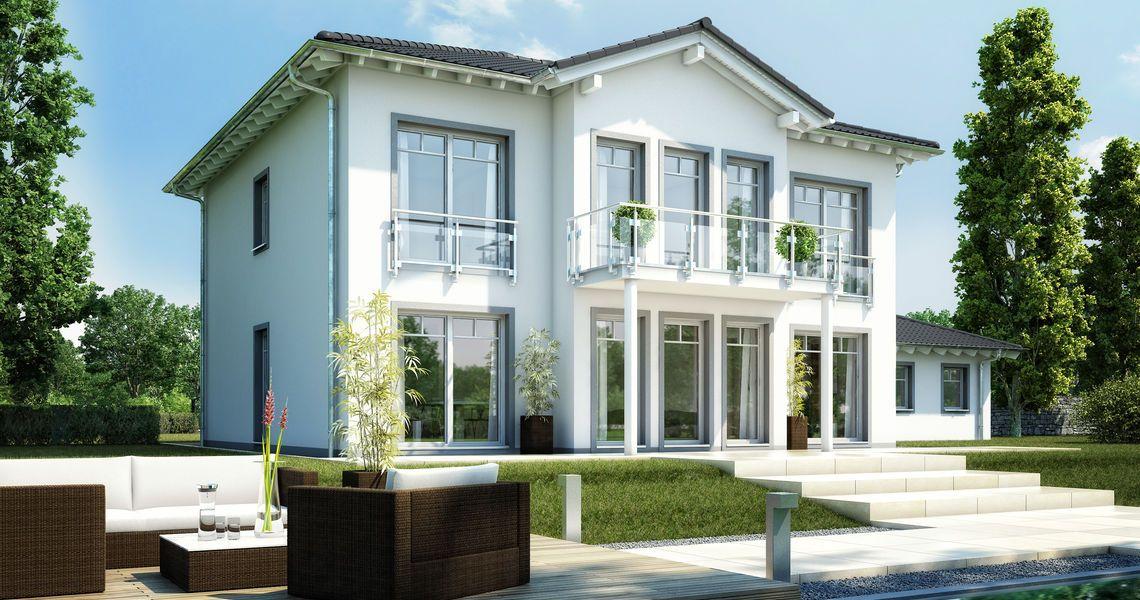 Massivhaus stadtvilla grundriss  Massivhaus Kern-Haus Stadtvilla Karat Gartenseite | Huizen ...