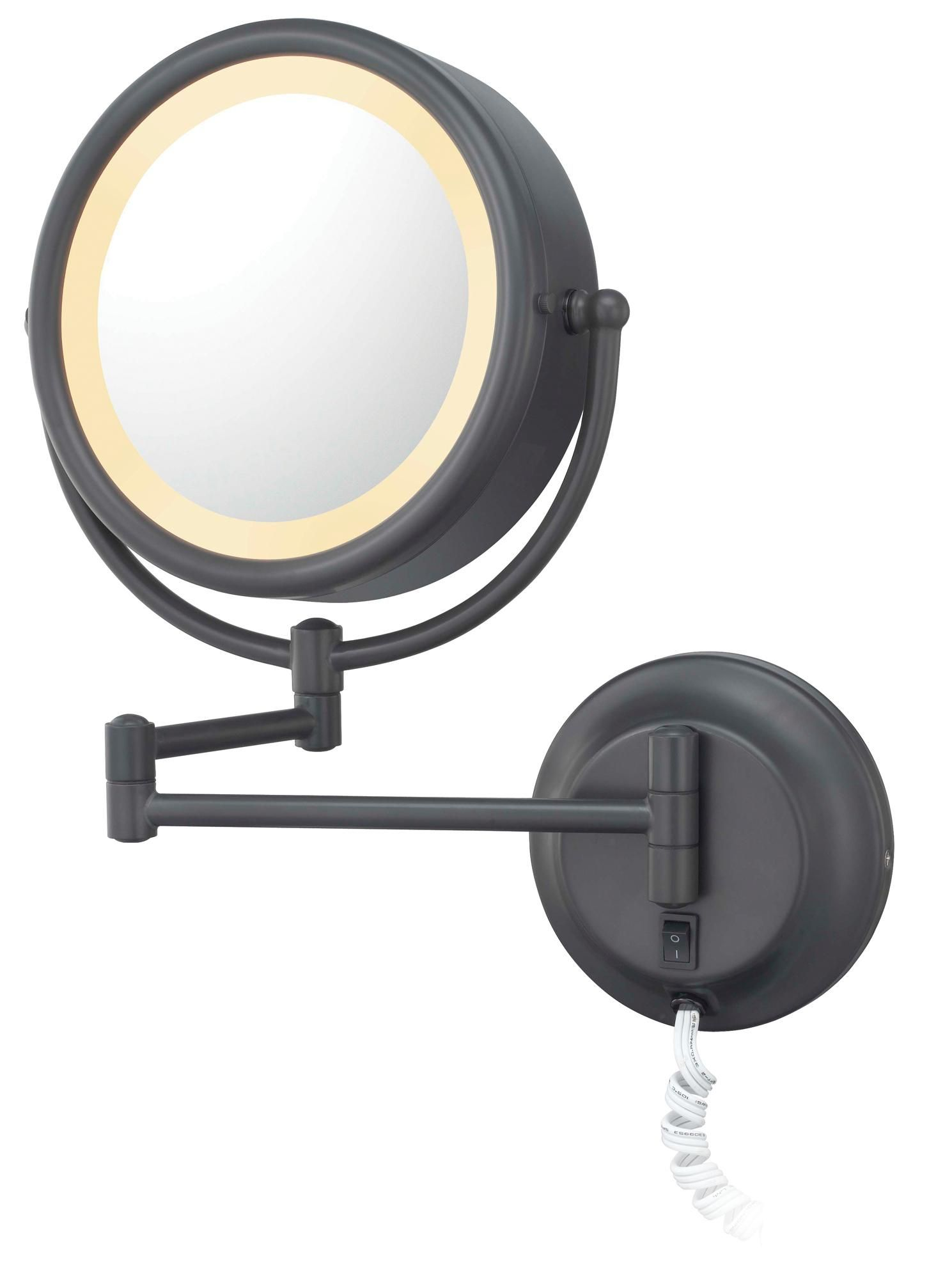 Bronze Finish Swing Arm Plug In Lighted Vanity Wall Mirror