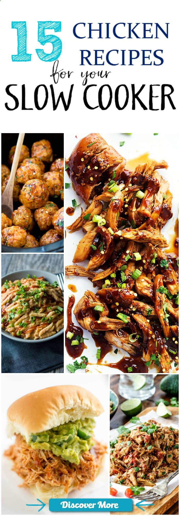 15 Chicken Recipes for your Slow Cooker #slowcooker #slowcook #slowcookerrecipes #slowcookerchicken
