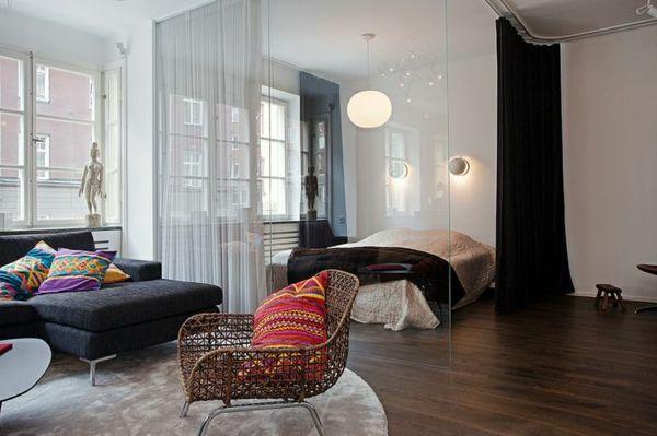 raumteiler zwischen schlafzimmer wohnzimmer durch vorhang, Schlafzimmer
