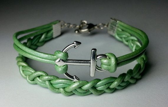 Braided Anchor Leather Wrap Bracelet, made by Dizzy Bees, purchase on Etsy.  Find Dizzy Bees on facebook!