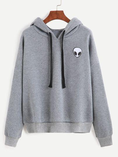 ea3c61f70e79a Alien Print Hooded Sweatshirt Ropa Deportiva