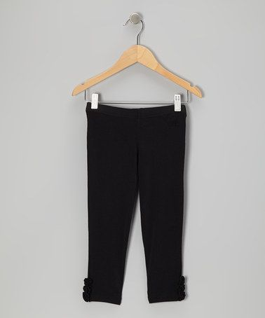 Take a look at this Black Rosette Leggings - Toddler & Girls by Ragdoll & Rockets on #zulily today!