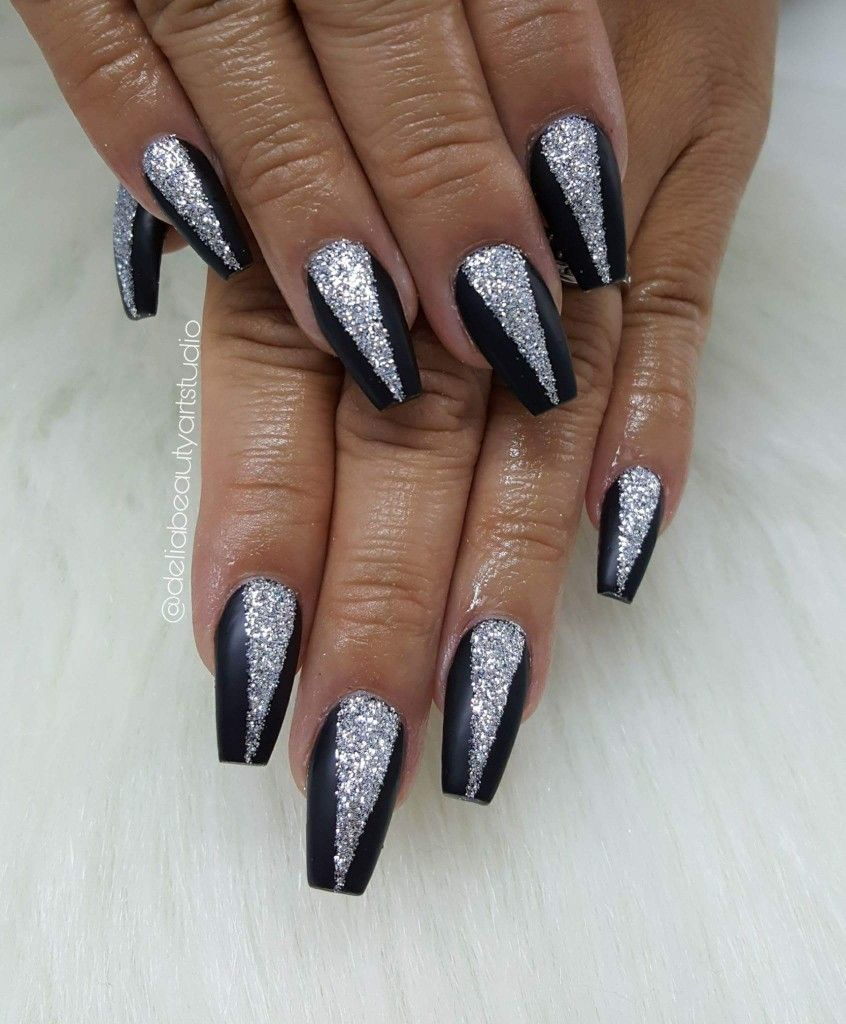 Black Silver Glitter Square Coffin Nails Pinterest Black Acrylic Nails Red Sparkle Nails Acrylic Nails Coffin Glitter