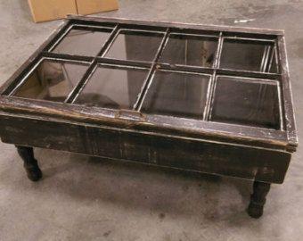 On Rustic Coffee Table Shadow Box Reclaimed Windows Window Distressed 8 Pane Ta