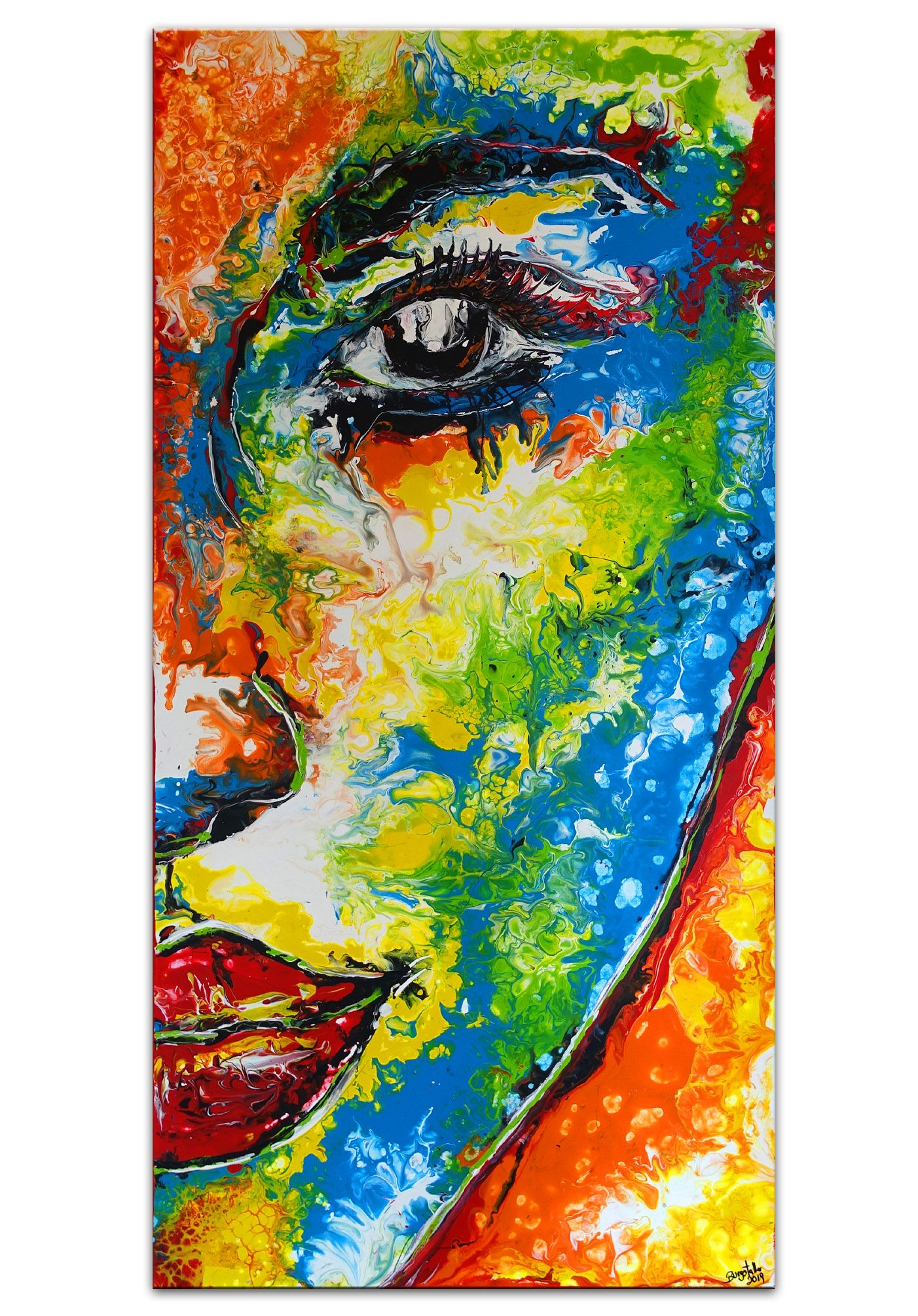 abstraktes gesicht bunt portrat malerei wandbild abstrakte kunst gemalde kunstproduktion bilder gold moderne abstrakt