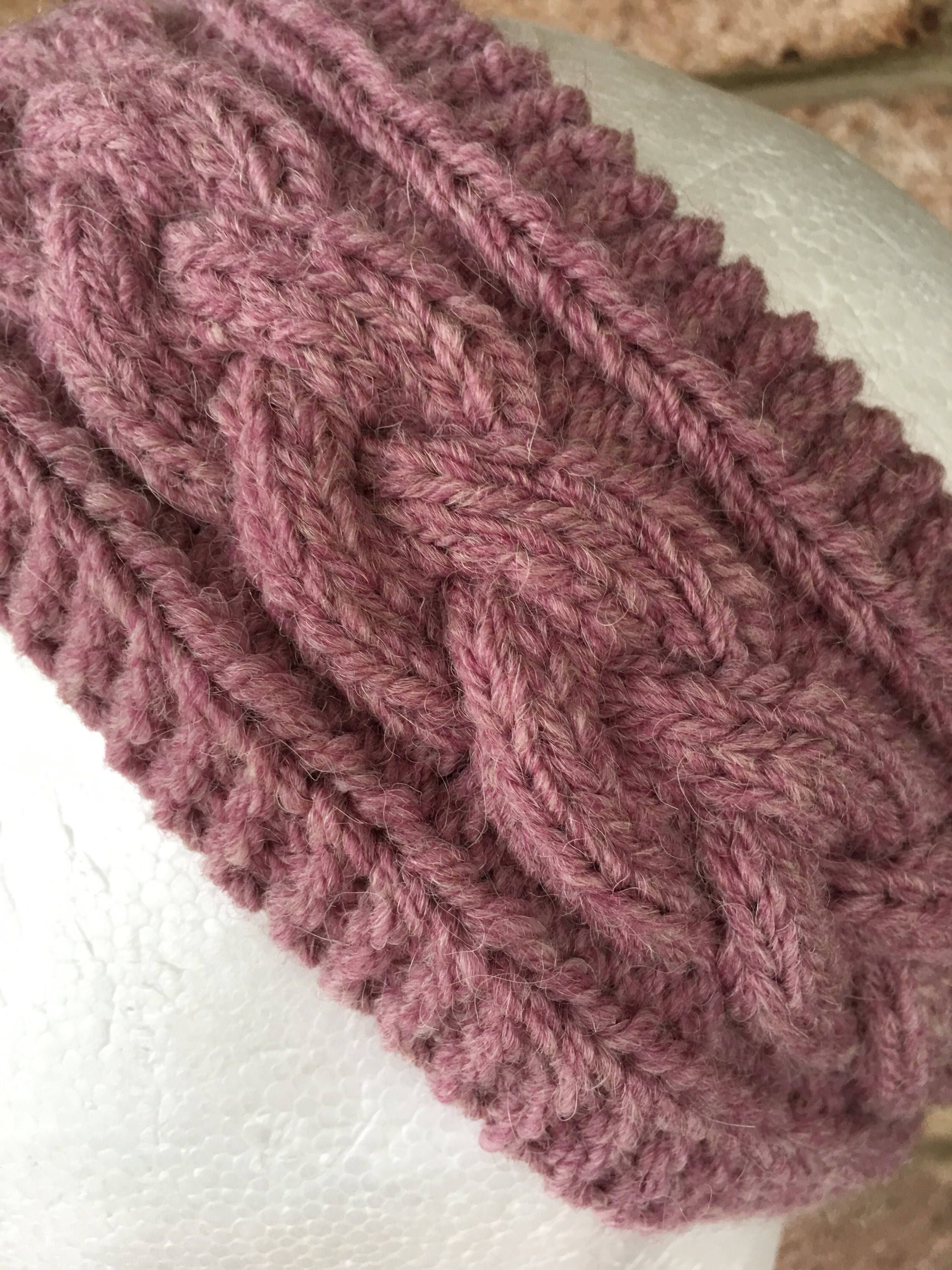 Pink knitted cable headband, knitted earwarmers, purple braided ...