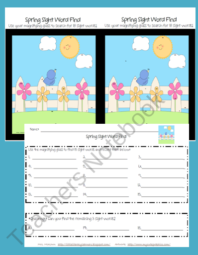Kindergarten Sight Word Find-Spring product from LittleLiteracyLearners on TeachersNotebook.com