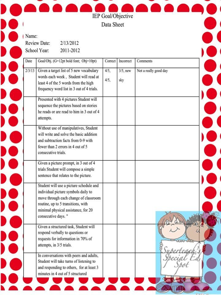 An Example Of An Easy To Use Data Record Sheet Based On Iep Goals