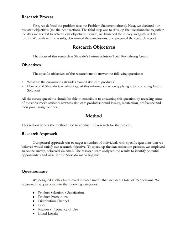 Market Research Report Template 7 Professional Marketing Dissertation Project On Pdf