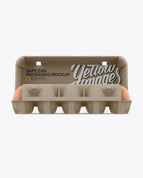 Download Open Kraft Egg Container Front View Object Mockups