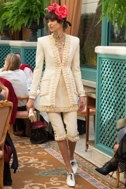 Cream jacket, tunic and pant suit with embellished trims by Chanel Pre Fall RTW 2017 Collection | British Vogue