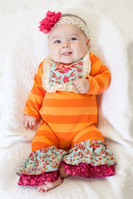 Peaches N Cream Orange Striped Onesie With Flower Headband
