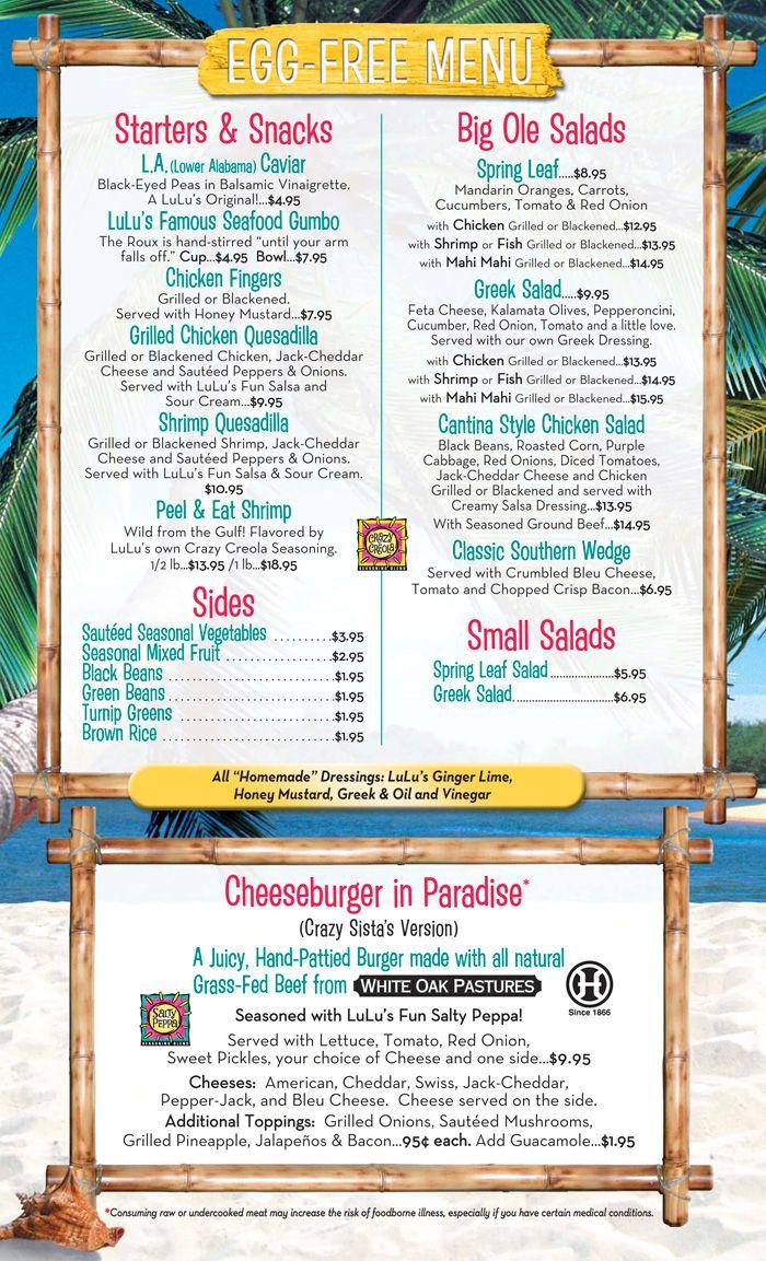 Egg Free Menu #LuLu's #Gulf Shores | Allergy Menu | Menu, Egg free