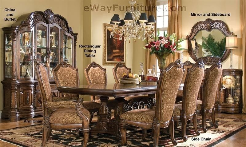 Details about 7 PC English Formal Dining Room Furniture ...