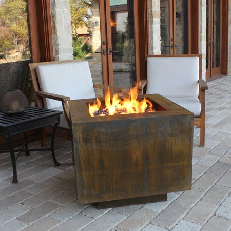 Square 30 In Propane Fire Pit With Hidden Tank Door Gas Firepit Fire Pit Outdoor Fire Pit
