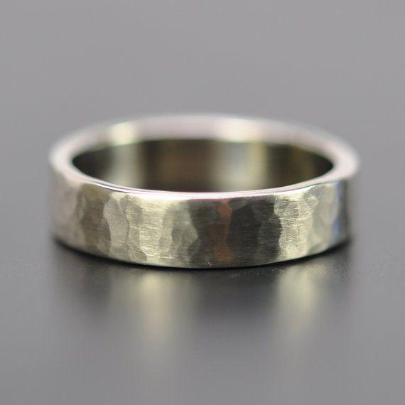mens 5mm white gold hammered wedding band 14k palladium white gold ring matte finish