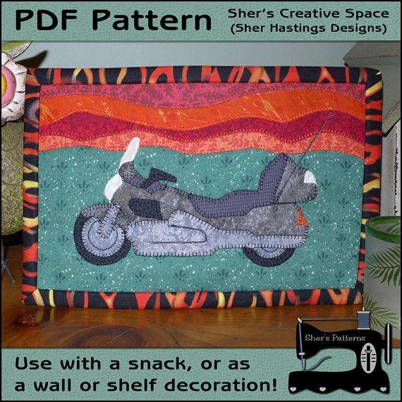 Motorcycle mug rug pattern #mug rug #motorcycle #applique   Sher's ... : motorcycle quilt pattern - Adamdwight.com