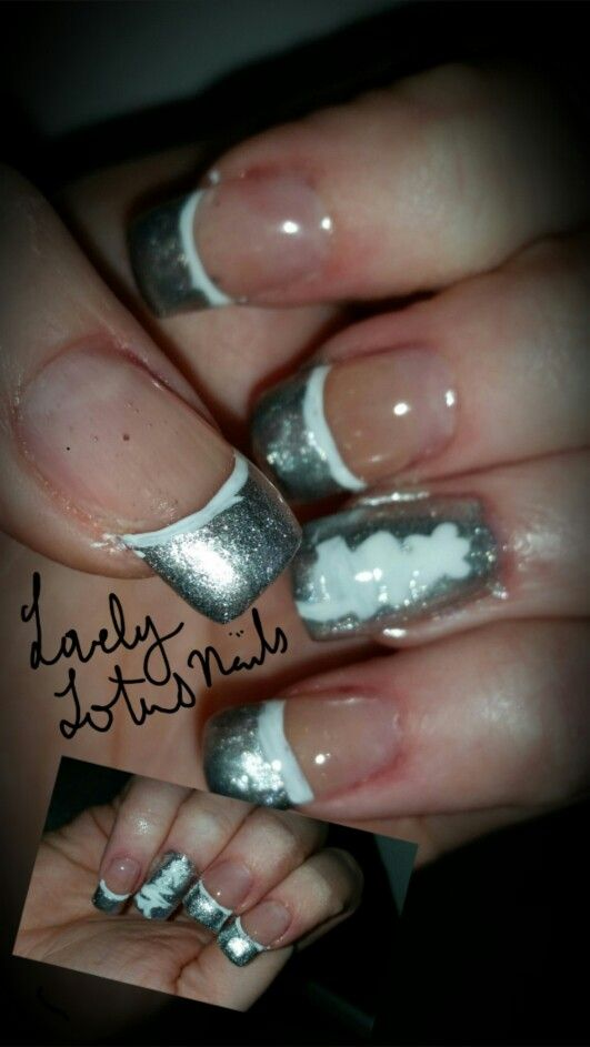 Silver & white Christmas tree. By Lovely Lotus nails | lovelylotus ...
