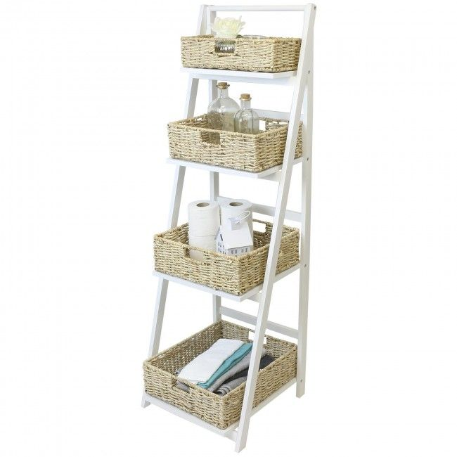Hartleys 4 Tier White Ladder Shelf with Natural Wicker ...