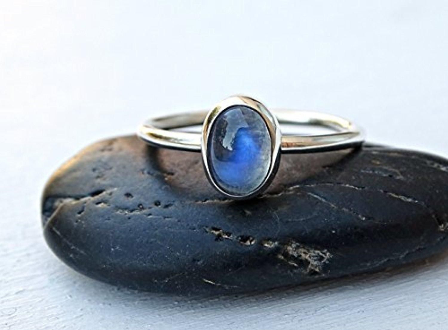 Silver moonstone engagement ring blue moonstone ring silver