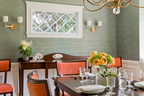 Wall paper & molding. Southern charm | Dining room design ... on Dining Room Sconce Idea id=58188