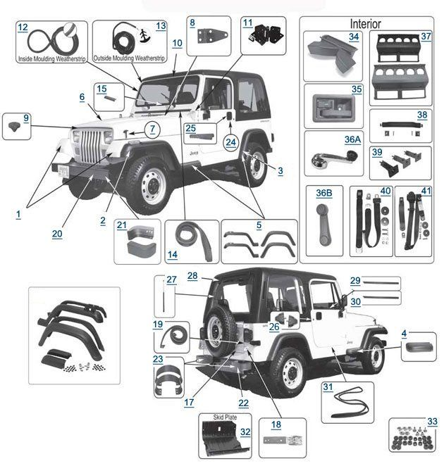 Jeep Yj Parts Wrangler Yj Body Panels 4wd Com Jeep Yj Jeep Wrangler Parts Jeep Wrangler Yj