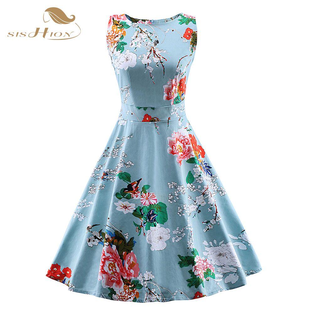 US $19.63] & SISHION S-4XL Plus Size Summer Sleeveless Vintage Dress ...