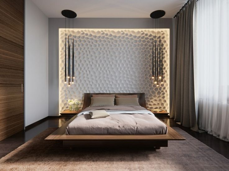 Ideen Schlafzimmer ~ Beleuchtung im schlafzimmer mit 3d wandpaneele und pendelleuchten