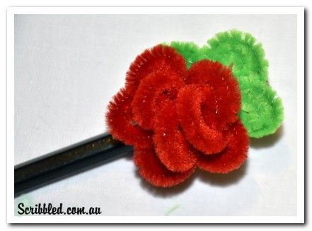 Rose Pencil Topper Using Fuzzy Sticks! Via Scribbled