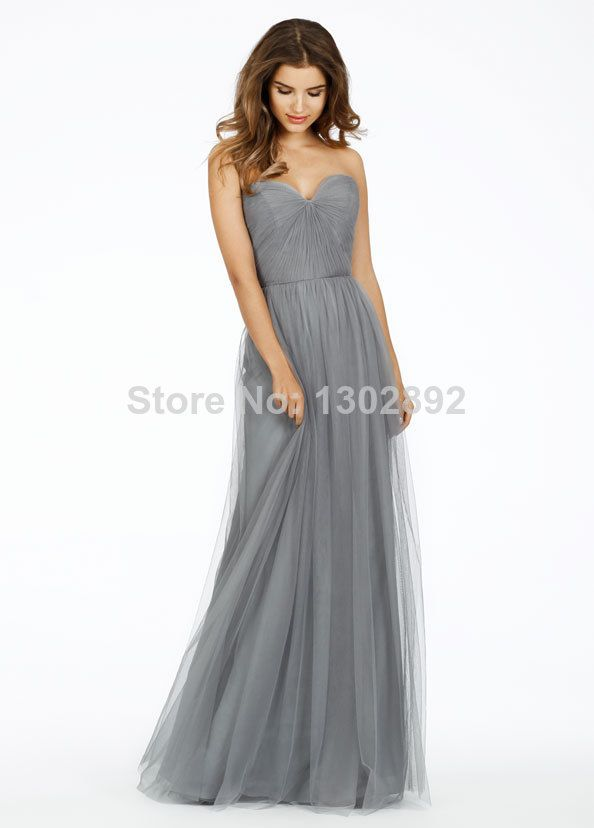 2015 Vintage Simple Tulle Sweetheart Long Gray bridesmaid Dresses ...