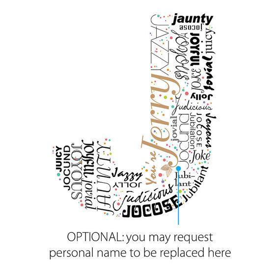 Positive words start with Letter J Alphabet J monogram Art - how to start a letter